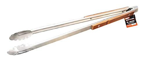 CAGO Premium XXL Grillzange - extra lang 56 cm Edelstahl Holz Zange BBQ Besteck