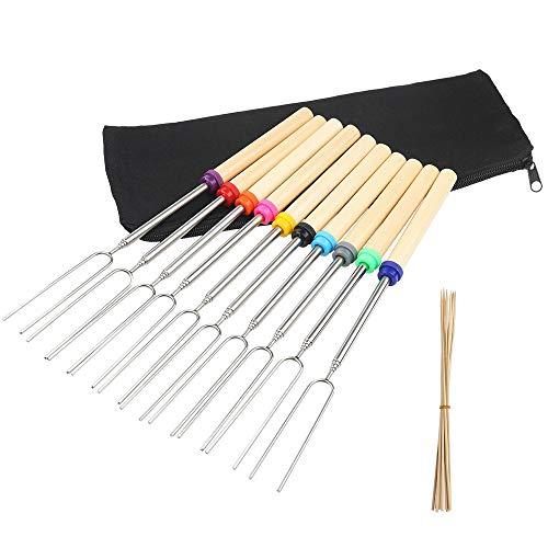 mreechan Barbecue Sticks,Roasting BBQ Sticks Set von 10 Teleskop Edelstahl Spieße -Ideal für...
