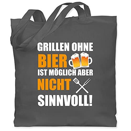 Shirtracer Grill - Grillen ohne Bier ist nicht sinnvoll weiß - Unisize - Dunkelgrau - WM101 - WM101...