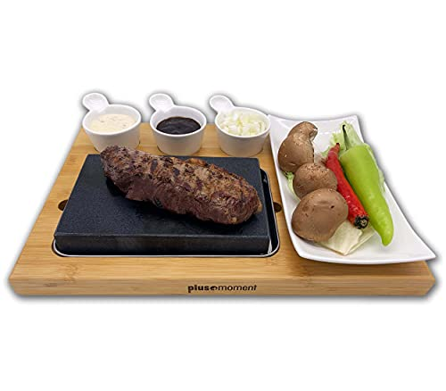 plusmoment Lavastein Hot Stone Steak Brett Set Bambusbrett, Lavastone Porzellan Platte inkl. Saucen...