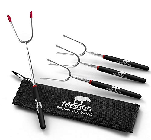 Tapirus Ausziehbare Marshmallow-Braten, 4 Camping-Sticks, langlebige Edelstahl-Ausrüstung,...