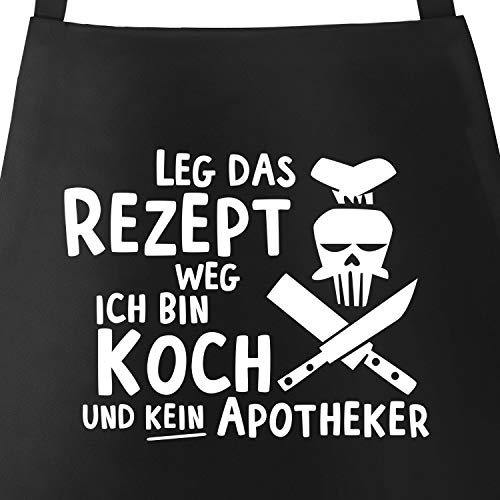 MoonWorks Grill-Schürze für Männer mit Spruch Leg das Rezept Weg ich Bin Koch und kein Apotheker...