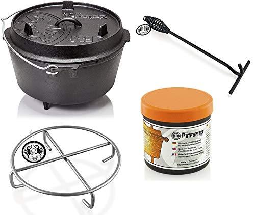 Petromax Feuertopf Starterset ft9 (Dutch Oven mit Standfüßen) inkl. Deckelheber + Pflegepaste +...