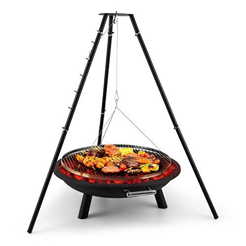 blumfeldt Arco Trino - Black Edition, Feuerschale, 70cm durchmessende Grillrost, extra Dickes...
