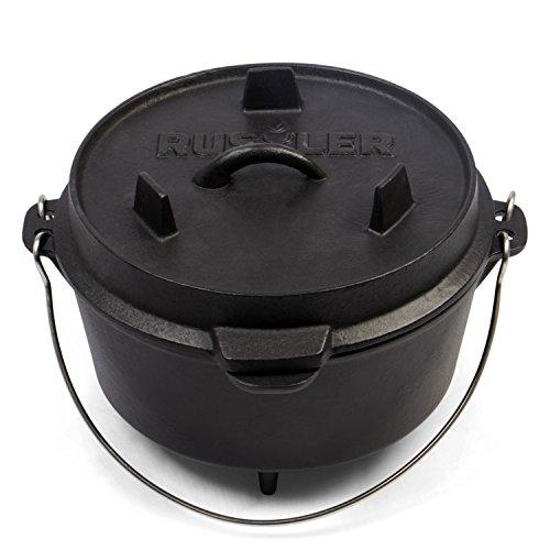 Rustler Dutch Oven Feuertopf, Schmortopf mit passendem Deckel und Edelstahl Henkel, aus Gusseisen,...