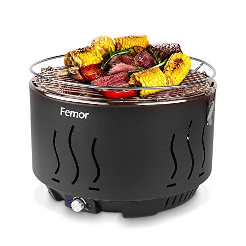 femor Rauchfreier Holzkohlegrill, Tischgrill mit Tragetasche, Grill mit USB-oder Batteriebetriebenem...
