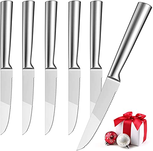 Hom Geek Steakmesser Set 6-teilig, Fein Gezahnte Steakmesser Fabrikat aus Edelstahl 304, Einteiliges...