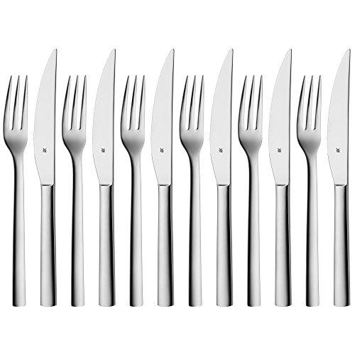 WMF Nuova Steakbesteck, 12-teilig, für 6 Personen, Steakgabel, Steakmesser, Cromargan Edelstahl...