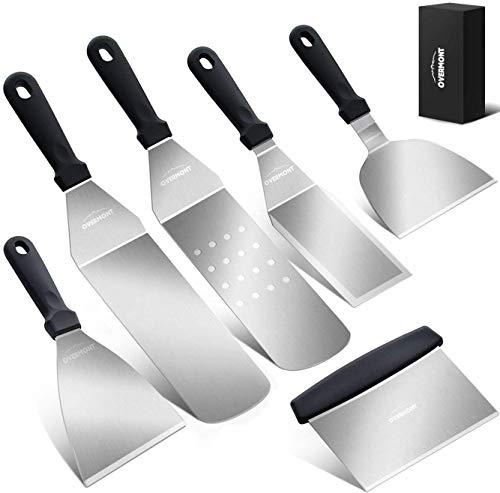 Overmont Grillspachtel Grillbesteck Set Grillwender BBQ Werkzeugset Edelstahl 6Pcs für Outdoor und...