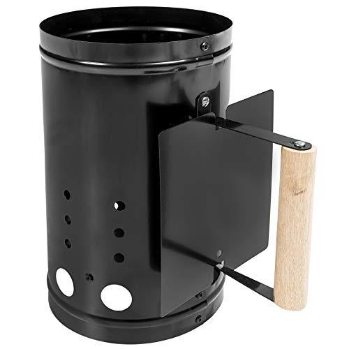 TecTake XXL Anzündkamin Grillkohleanzünder mit Hitzeschutzschild schwarz