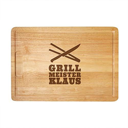 Schneidebrett aus Holz mit persönlicher Gravur für echte Grillmeister, als Küchenbrett,...