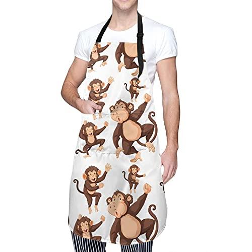 Monkey Grillschürzen mit 2 Taschen, verstellbarer Nackenriemen, wasserdichte Schürze für Küche,...