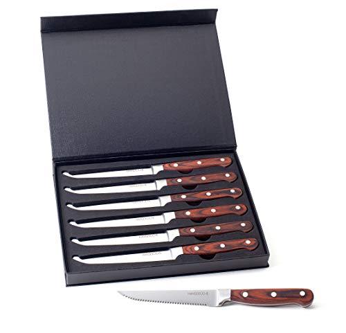 Hanseküche Steakmesser Set – 6X Hochwertige Steakmesser mit Holzgriff – Edles Besteck Set aus...