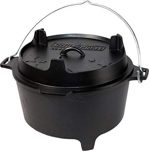 Grillfürst Dutch Oven ca. 9 Liter - stabil stehender Feuertopf durch speziell entwickelte T-Füße,...