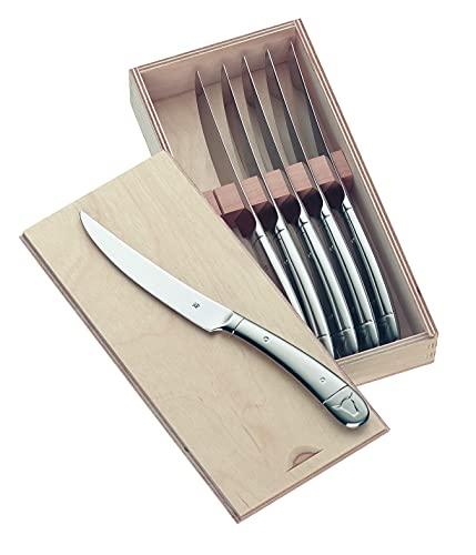 WMF Steakmesser Set 6-teilig, Cromargan Edelstahl poliert, Wellenschliff, spülmaschinengeeignet,...