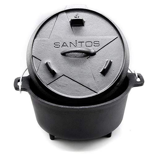 SANTOS Dutch Oven, Schmortopf für Außenküche, 4,5 Qt mit Füße, Gusseisen