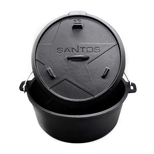 SANTOS Dutch Oven, Schmortopf für Außenküche, 12 Qt ohne Füße, Gusseisen