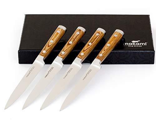 makami 4er-Set Premium Steakmesser mit scharfer, glatter Klinge aus deutschem Messerstahl und Griff...