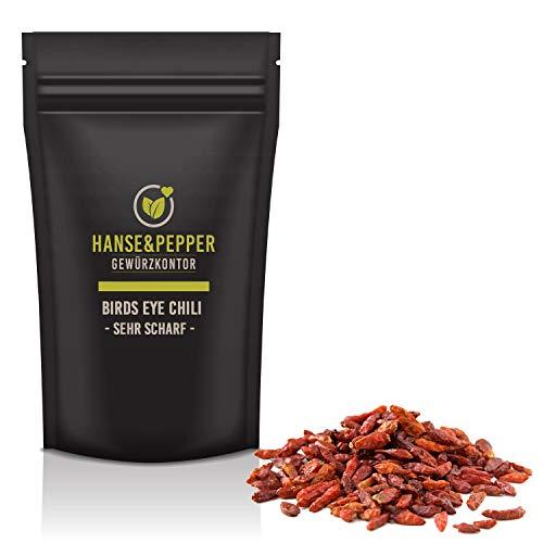 100g Birds Eye Chili Schoten ganz extrem scharf Chilli natürlich vom Hanse&Pepper Gewürzkontor -...