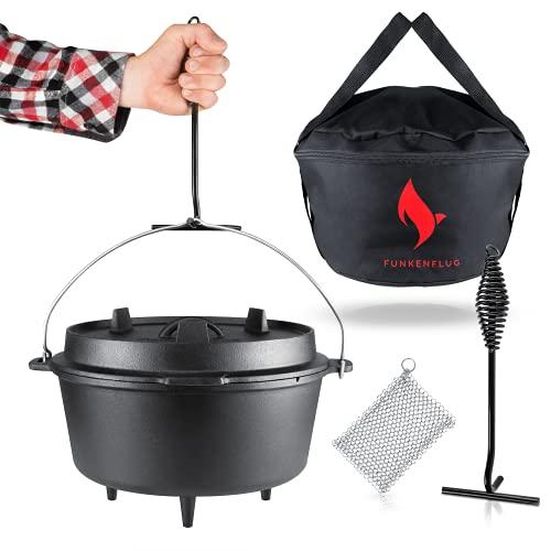 Eingebranntes Dutch Oven Set [5 Liter] - für gesellige Grill Abenteuer - BBQ Feuertopf aus massivem...