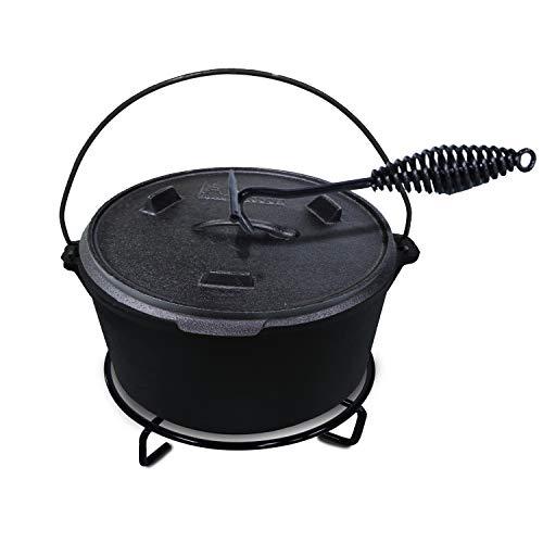 ACTIVA BBQ Dutch Oven Topf ca. 6 Liter Ø 31 cm aus schwarzem Gusseisen - inkl. Deckel - mit Henkel...