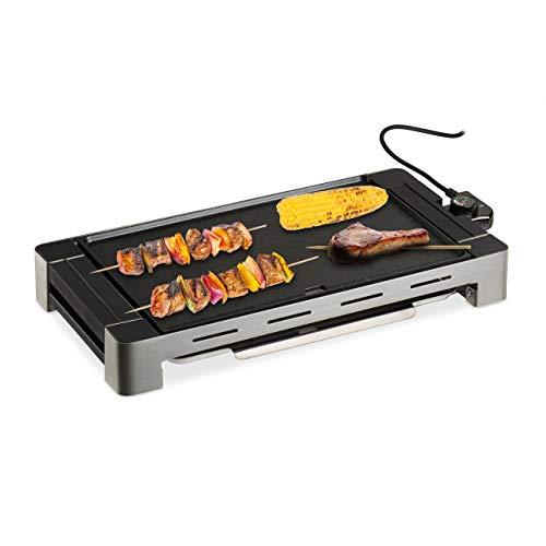 Relaxdays Tischgrill elektrisch, Temperaturregler, BBQ Elektrogrill, 1500 W, Grillplatte 42 x 27 cm...