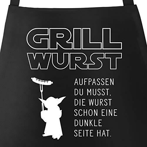 MoonWorks Grill-Schürze für Männer mit Spruch Grill Wurst Aufpassen du musst, die Wurst Schon...