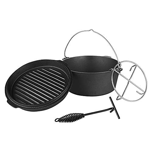 Melko Dutch Oven 31 x 10 cm Feuerkessel ohne Füße Gusseisen Potjie Kochtopf Feuertopf Gusstopf BBQ...
