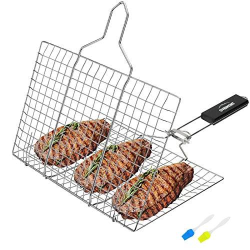 Overmont Grillroste Grillkorb Grill Fischhalter Gemüsekorb Burger Grillwender Fischbräter 18/8 304...
