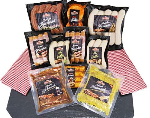 Barbecue Party Grillpaket mit Bratwürsten, Grillfleisch Steak mariniert, Käsegriller, Rauchwurst -...