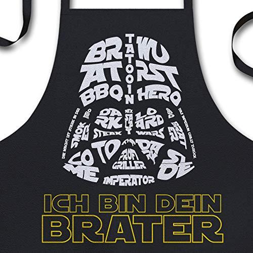 YORA Grillschürze für Männer lustig - Ich bin dein Brater - Vatertagsgeschenk inkl. BBQ-Urkunde -...