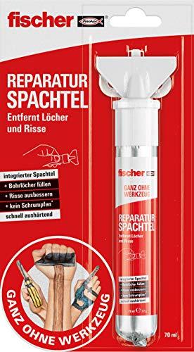 fischer REPARATUR SPACHTEL, fertige Spachtelmasse in Naturweiß, repariert Löcher & Risse,...