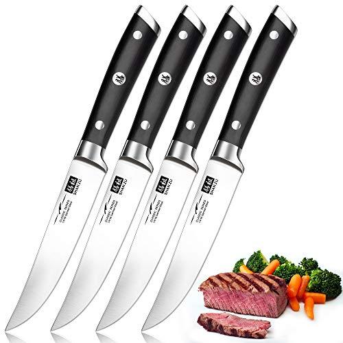 SHAN ZU Steakmesser Set, Steakmesser 4-teilig Rostfreier Edelstahl Sehr Scharfe Fleischmesser...