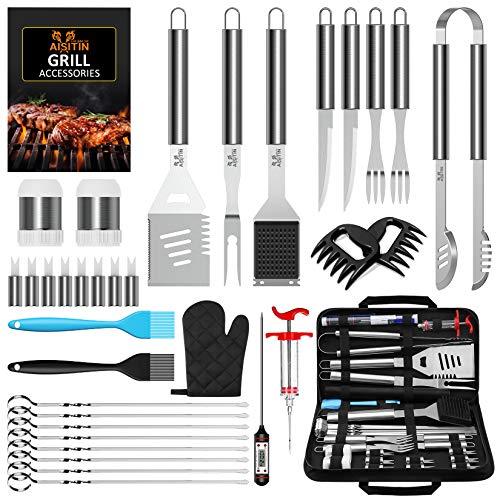 AISITIN 35er BBQ Grillbesteck Tool Set Grillset mit Grillmatte Hochwertiger Edelstahl für Garten...