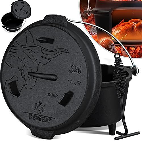 KESSER® Dutch Oven Set BBQ 7,3 Liter, Feuertopf Schmortopf mit Füßen, Gusseisen Topf mit...