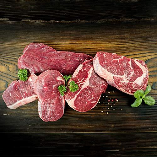 WURSTBARON® Grill Deluxe Paket für 5 Personen - Set aus Flanksteak, Rib-Eye-Steak und Roastbeef