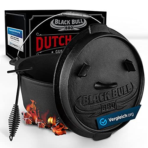 Black Bull BBQ Dutch Oven Set [9L] – Eingebrannter Feuertopf aus Gusseisen mit Füßen & Deckel...