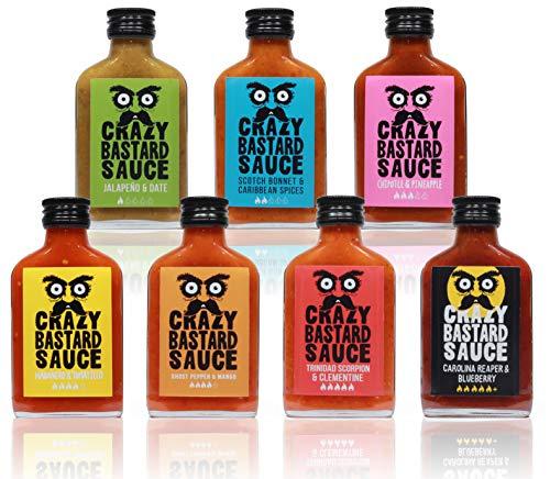 Crazy B Sauce - 7er Bundle mild bis extreme scharfe Chilisauce (7 x 100ml Flasche) - Geschenkset...