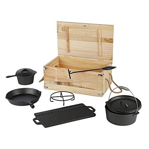 Melko Dutch Oven Set mit Topf 7 TLG. BBQ Pfanne Grillplatte Topfständer aus Gusseisen zum Grillen,...