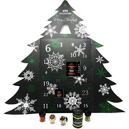 Hallingers Riesiger 24 Gewürz-Adventskalender als Baum (570g) - Merry Christmas (Adventsbaum) - zu...