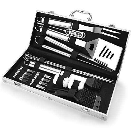 BACKTURE Grillbesteck, 21 pcs Edelstahl Grillset im Aluminium Koffer mit Digitales...