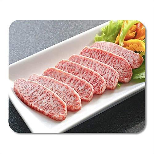 25X30CM Rotes Fleisch Premium Japanisches Wagyu-Rindfleisch auf Teller Mauspad geschnitten