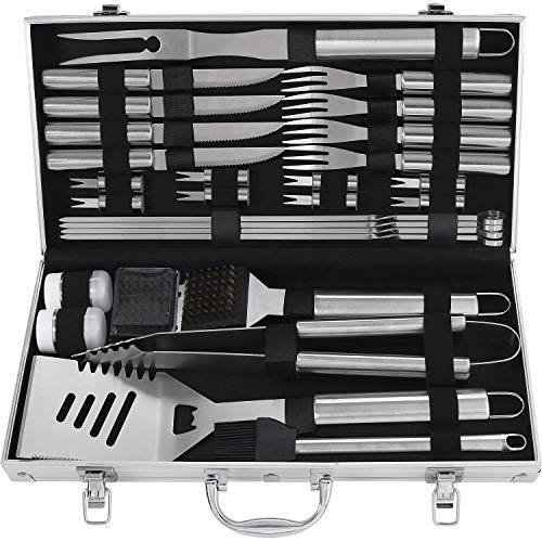 grilljoy 29PCS Grillset - Hochleistungs Edelstahl Grillkoffer mit Grillaufbewahrungsbox für...