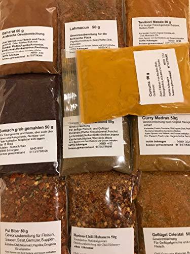 Baharat, Garam Masala, Tandoori Masala, Pul Biber usw. 10 Tlg Orientalisches Gewürz Set
