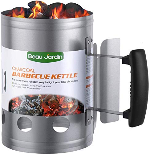 BEAU JARDIN 28x18cm Anzündkamin Rapidfire Grillen Kohle Grillkohleanzünder für BBQ Grillstarter...