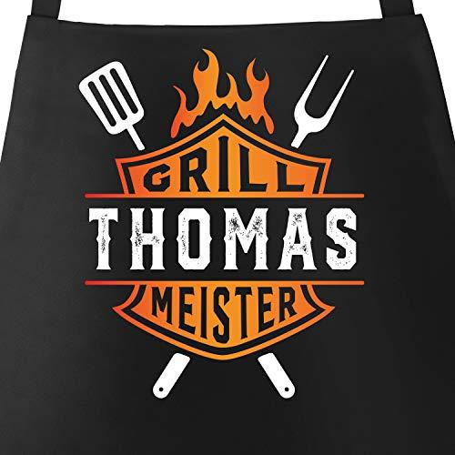 MoonWorks® Grill-Schürze für Männer Grillmeister Biker personalisiert eigener Name...