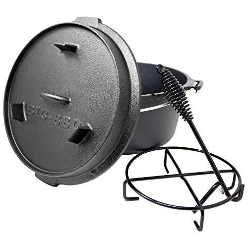 ToCis Big BBQ Premium Dutch Oven 6.0 Gusseisen eingebrannt 12er Kochtopf mit Deckelheber...