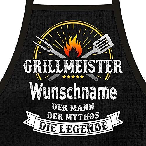 Shirtoo Grillschürze mit Spruch personalisierbar - Grillmeister [Wunschname] der Mann, der Mythos,...