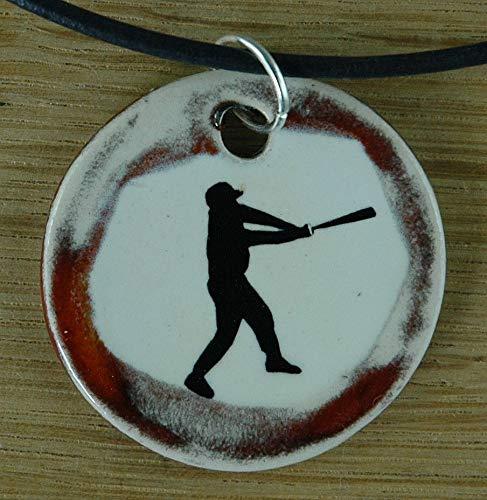 Echtes Kunsthandwerk: Schöner Keramik Anhänger mit einem Baseballspieler, Baseball, Sport, USA,...