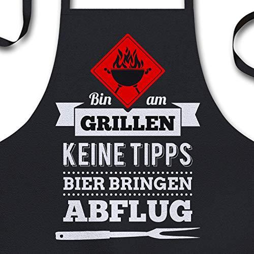 YORA Grillschürze für Männer lustig - Bin am Grillen - Vatertagsgeschenk inkl. personalisierbarer...